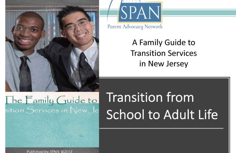 Image of cover slide for Transition from School to Adult Life pdf